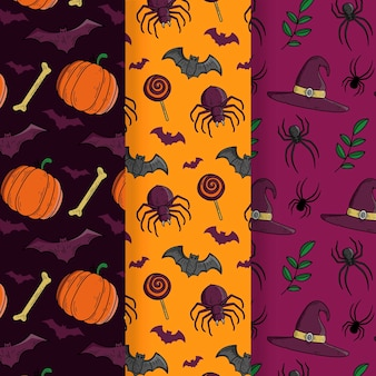 Hand drawn halloween pattern set