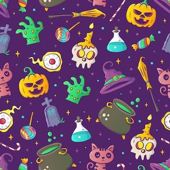 Hand-drawn halloween pattern vector