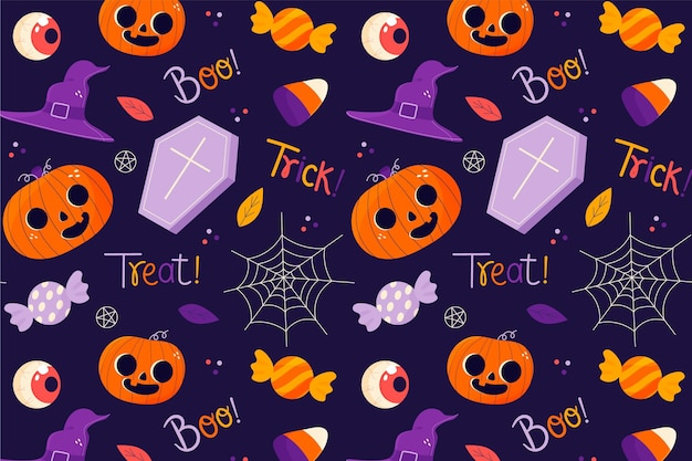 Hand drawn halloween pattern with coffins