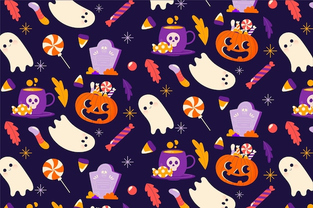 Hand drawn halloween pattern with pumpkin and ghost
