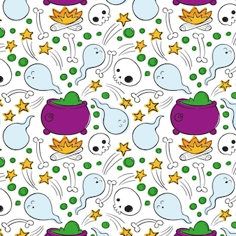 Hand drawn halloween pattern