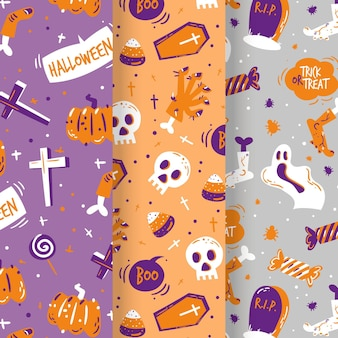 Hand drawn halloween patterns collection