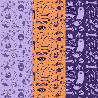 手描きのハロウィンパターンコレクション