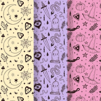 Hand drawn halloween patterns collection Free Vector