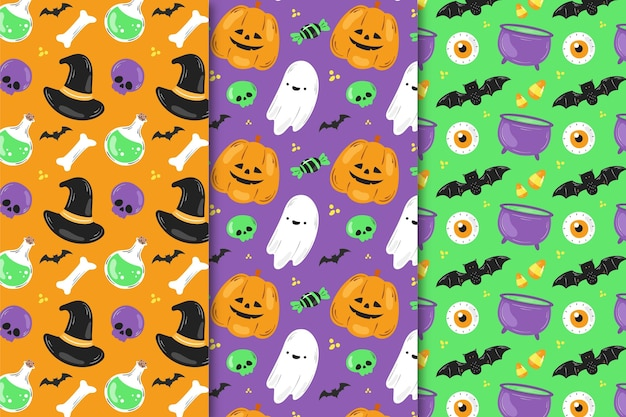 Hand-drawn halloween patterns