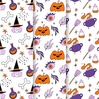 Hand drawn halloween patterns