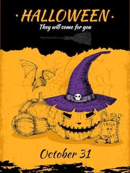 Poster di halloween disegnato a mano