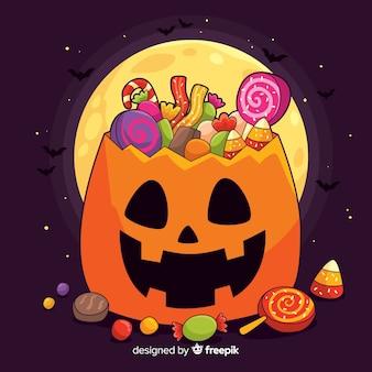 Hand drawn halloween pumpkin bag