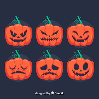 Hand drawn halloween pumpkin collection with faces