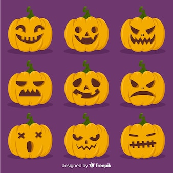Hand drawn halloween pumpkin collection