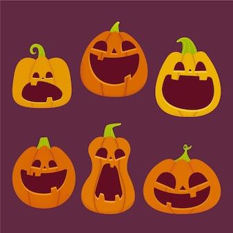 Коллекция рисованной тыквы на хэллоуин