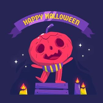 Hand drawn halloween pumpkin illustration