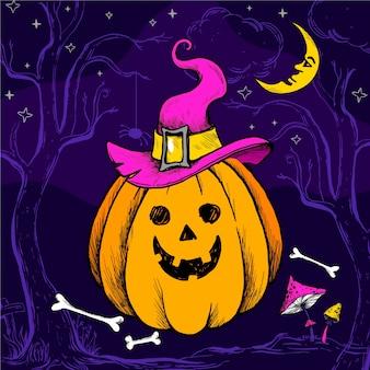 Нарисованная рукой иллюстрация тыквы хэллоуина