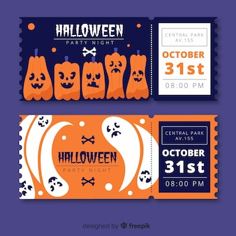 Hand drawn halloween pumpkin tickets