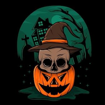 Hand drawn halloween pumpkin with skull illustration