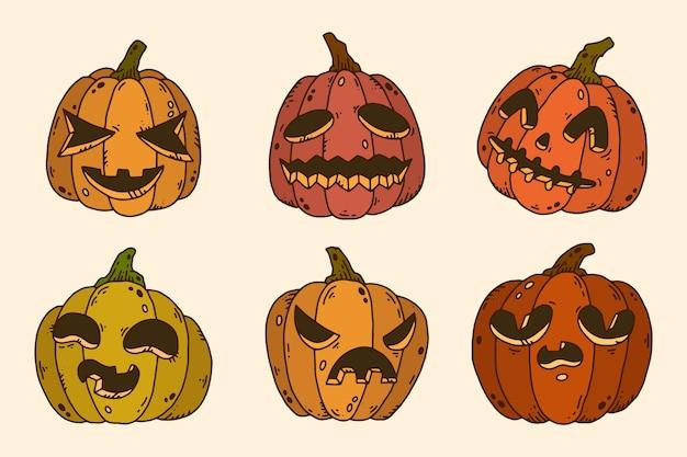 Hand drawn halloween pumpkins collection