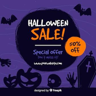Hand drawn halloween purple sale