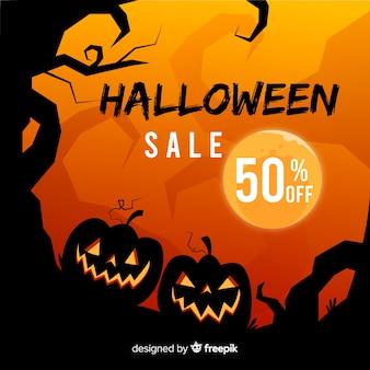 Hand drawn halloween sale background