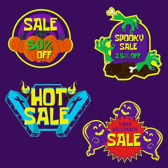 Hand drawn halloween sale badge colleciton