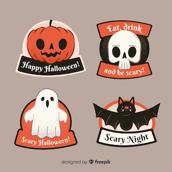 Hand drawn halloween sale badge collection