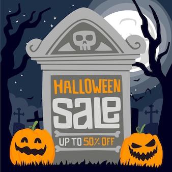 Hand-drawn halloween sale concept