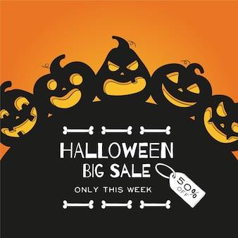 Hand drawn halloween sale concept