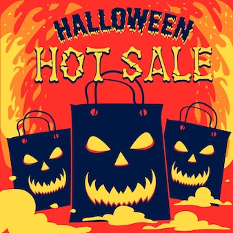 Hand drawn halloween sale concept