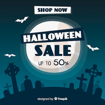 Hand drawn halloween sale full moon night