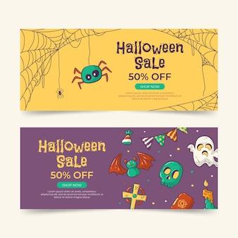 Set di banner orizzontali di vendita di halloween disegnati a mano