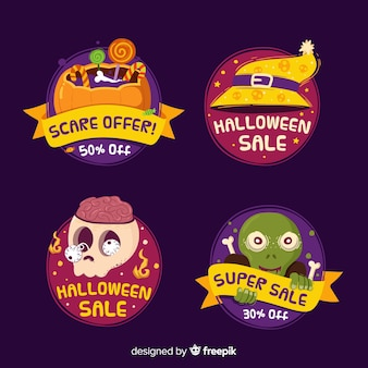 Hand drawn halloween sale label collection