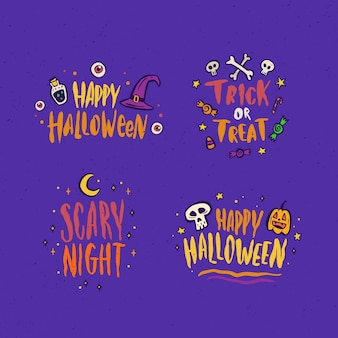 Hand drawn halloween sale labels collection