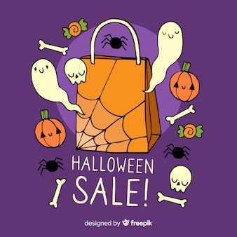 Hand drawn halloween sale with ghosts