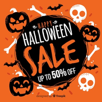 Hand drawn halloween sale with pumpkins and skulls