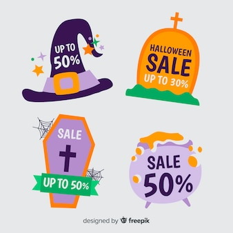 Hand drawn halloween sales with witch decoration Free Vector