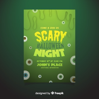 Hand drawn halloween scary night party poster template