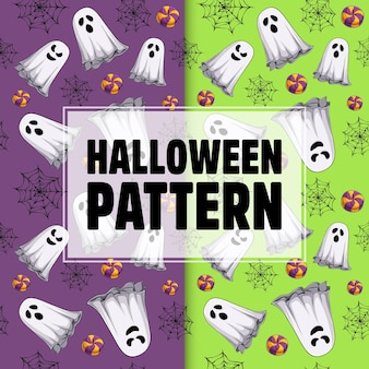 Hand drawn halloween seamless pattern with ghosts spider webs and candies halloween motif