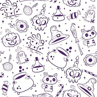Hand drawn halloween seamless pattern Premium Vector