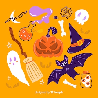 Hand drawn halloween set of cute elements on orange background