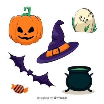 Hand drawn halloween set of cute elements