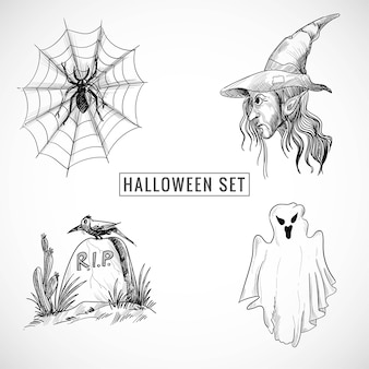 Hand drawn halloween set sketch design