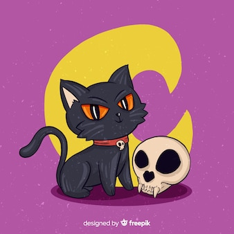 Hand drawn halloween shakespearian cat