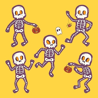 Hand drawn halloween skeletons collection