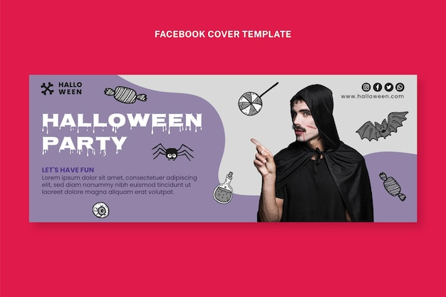 Hand drawn halloween social media cover template