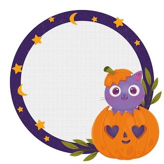 Hand drawn halloween social media frame template