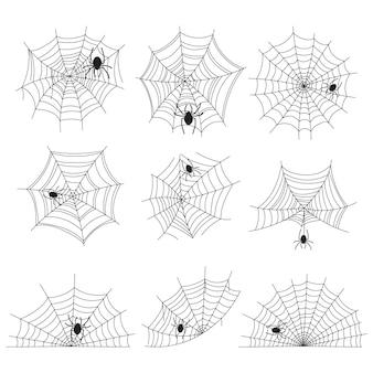 Hand drawn halloween spider webs  collection