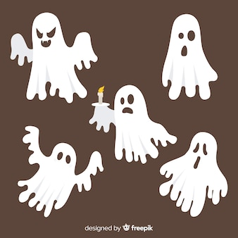 Hand drawn halloween spooky ghost collection