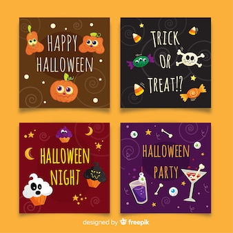 Hand drawn halloween squared card collection