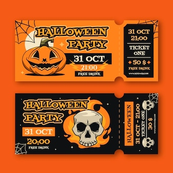 Hand drawn halloween tickets collection
