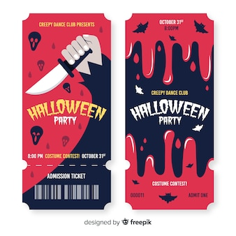 피 묻은 디자인에 손으로 그린 할로윈 티켓