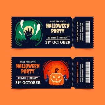 Hand drawn halloween tickets set